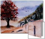 Huge Orange Tree in Foreground, Two Barns and Fence in Background Prints by Rich LaPenna