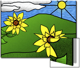 Stained Glass Sunflowers in the Sun Prints by Rich LaPenna