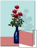 Four Red Roses in Blue Vase Prints by Rich LaPenna