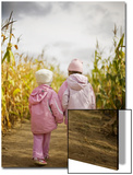 Two Children in Pink, Walking Through Cornfield Poster by Elise Donoghue