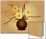 Three Yellow and Red Flowers in Vase with Cattail and Lotus Flower Print by Rich LaPenna