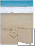 Beach on Fire Island, Ny with the Words 'Love Life' Written in the Sand Prints by Marie Hickman