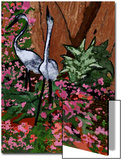 Two Heron Hunt Amongst Flowers Posters by Rich LaPenna