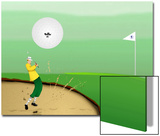 Golfer Strokes Ball Out of Sand Trap Print by Rich LaPenna