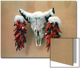 Snowy Cow Skull on Wall with Chili Ristras Hanging on Horns, Santa Fe, New Mexico, USA Prints by Diane Miller