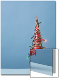Christmas Tree with Lights and Blue Background Poster by Laura Johansen