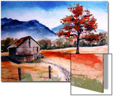 Kentucky Barn with Blue Mountains in Background Prints by Rich LaPenna