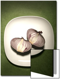 A Two One-Halfs of a Red Onion on a White Plate Posters by Tina Chang