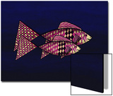 Two Red and Yellow Happy Fish Art by Rich LaPenna