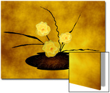 Vase of Three Yellow Flowers on Gold Background Art by Rich LaPenna