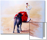 Matador Holds Red Cape Up to Bull Print by Rich LaPenna