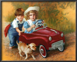 Kids and Puppy Art by David Lindsley