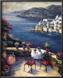 Mediterranean Vistas w Black Chairs Print by John Zaccheo