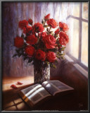 Bible and Roses Art by Lynn Pitard