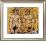 Deux Femmes Accroupies Posters by Egon Schiele