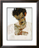 Autoportrait a la Tete Pechee, c.1912 Posters by Egon Schiele