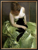 Woman in Green Dress with Black Cat Prints by John White Alexander