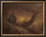 Two Man Contemplating the Moon Framed Giclee Print by Caspar David Friedrich