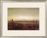 Greifswald in Moonlight Framed Giclee Print by Caspar David Friedrich