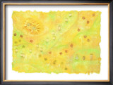 Shining Flower Garden on Yellow Japanese Paper Framed Giclee Print by Miyuki Hasekura