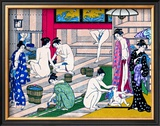 Women in Public Bathhouse Framed Giclee Print