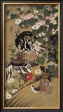 Japanese Rooster with Two Birds Framed Giclee Print by Jyakuchu Ito