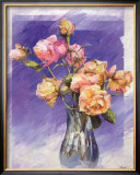 Roses with a Blue Vase Print by I. Kupper
