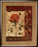 Burlap Tea Rose Print by Vivian Flasch