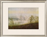 Elbe Skiff in the Morning Mist Framed Giclee Print by Caspar David Friedrich