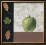 Green Apple and Leaves Art by John Boyd