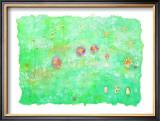 Aquarius Is Flower on Blue Japanese Paper Framed Giclee Print by Miyuki Hasekura