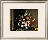 Dutch Vase of Flowers by a Window Framed Giclee Print by Balthasar van der Ast