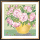Yellow Vase Peonies I Print by Patricia Roberts