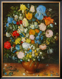 Flowers in a Brown Vase Poster by Jan Brueghel the Elder