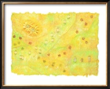 Shining Flower Garden on Yellow Japanese Paper Framed Giclee Print by Miyuki Hasekura