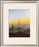Ships in Greifswald Harbor Framed Giclee Print by Caspar David Friedrich