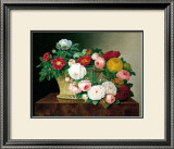 Still Life with Roses in a Basket Posters by Johan Laurentz Jensen