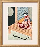 Japanese Geisha in Snow Framed Giclee Print