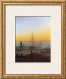 Ships in Greifswald Harbor Framed Giclee Print by Caspar David Friedrich