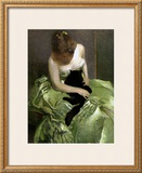 Woman in Green Dress with Black Cat Print by John White Alexander