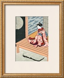 Japanese Geisha in Snow Framed Giclee Print