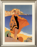 La Plage de Calvi Print by Roger Broders