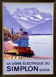 Simplon Electric Train Alps Framed Giclee Print