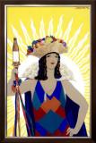 Spanish Senorita Beer Framed Giclee Print by Achille Luciano Mauzan