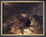 Deer and Deerhounds in a Mountain Torrent Framed Giclee Print by Edwin Landseer