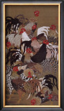 Japanese Rooster with Sunflower in Summer Framed Giclee Print by Jyakuchu Ito