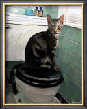 Gray Tiger Cat on the Toilet Art by Robert Mcclintock
