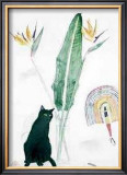 Black Cat and Strelitzia Posters by Elizabeth Blackadder
