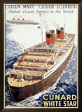 Cunard Line, Queen Elizabeth, Queen Mary Framed Giclee Print by Walter Thomas