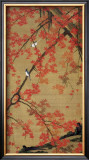 Two Birds Meet Up on the Maple Tree Framed Giclee Print by Jyakuchu Ito
